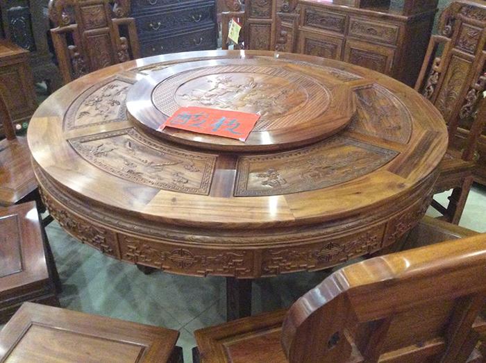 红木圆餐桌