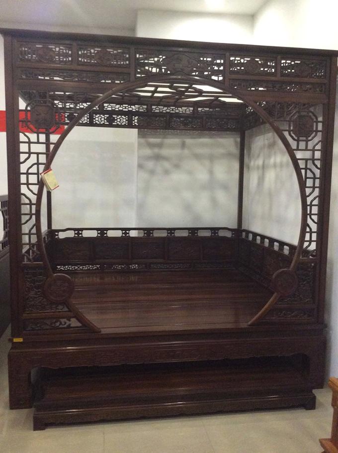 红木中式床铺