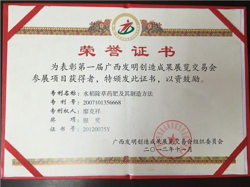第一届广西发明创造成果奖银奖