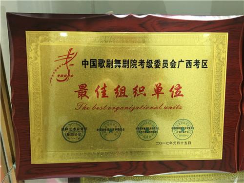 中国歌剧舞剧院考级委员会广西考区最佳组织单位