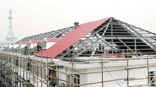 合成樹脂瓦房屋建造現場施工效果