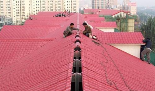 合成樹脂瓦用于別墅建造效果