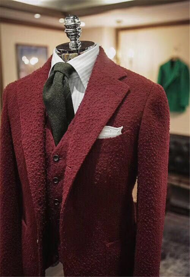 红色磨砂西服上衣