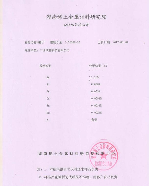 鋁鈧合金2%分析報告