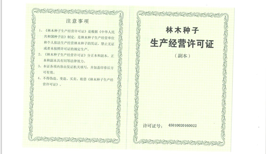 林木种子生产、经营许可证两证合一副本
