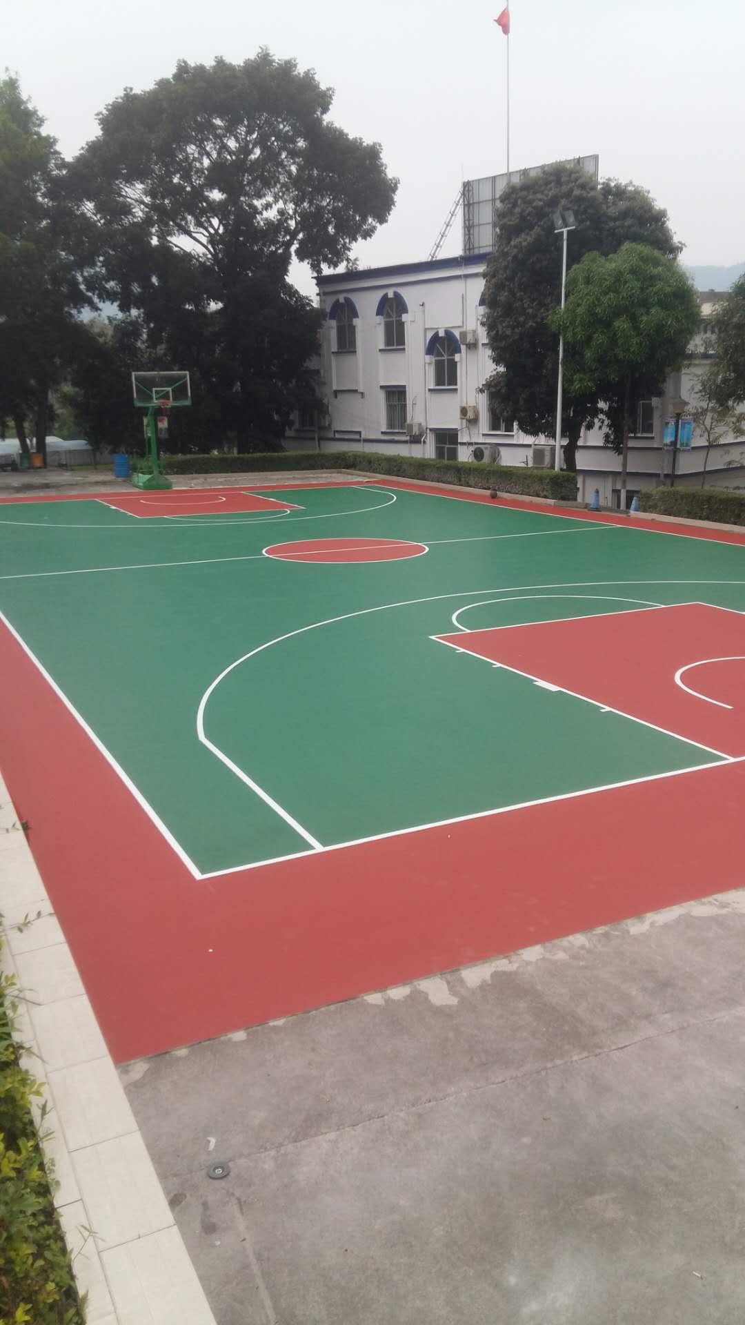 硅PU球场案例 2018崇左边防支队夏石边境检查站 硅PU篮球场