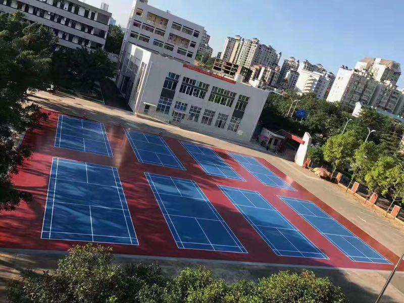 硅PU球场案例2017硅PU广西柳州高中