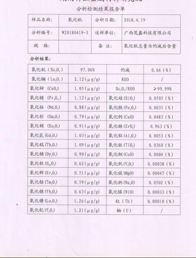 氧化鈧產品化驗單(97粗鈧)