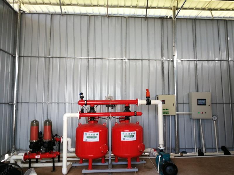 水肥一体自动化灌溉系统泵房首部枢纽安装效果图