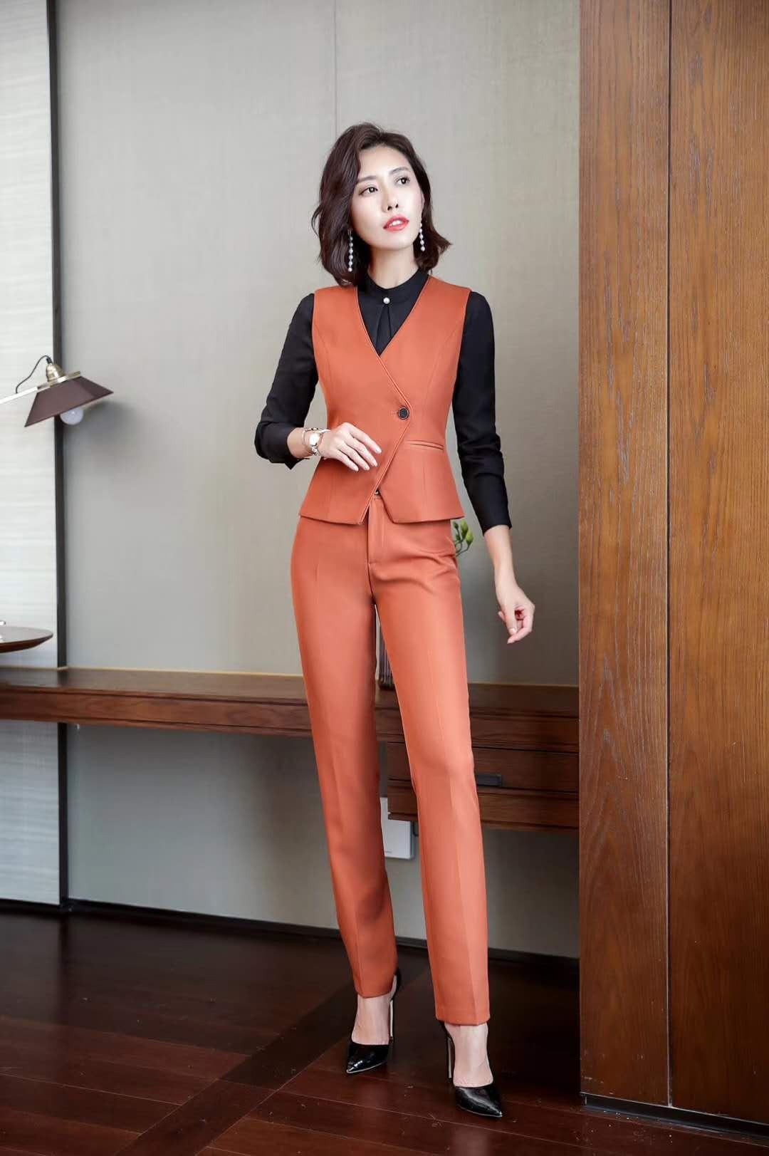 橘色女套装