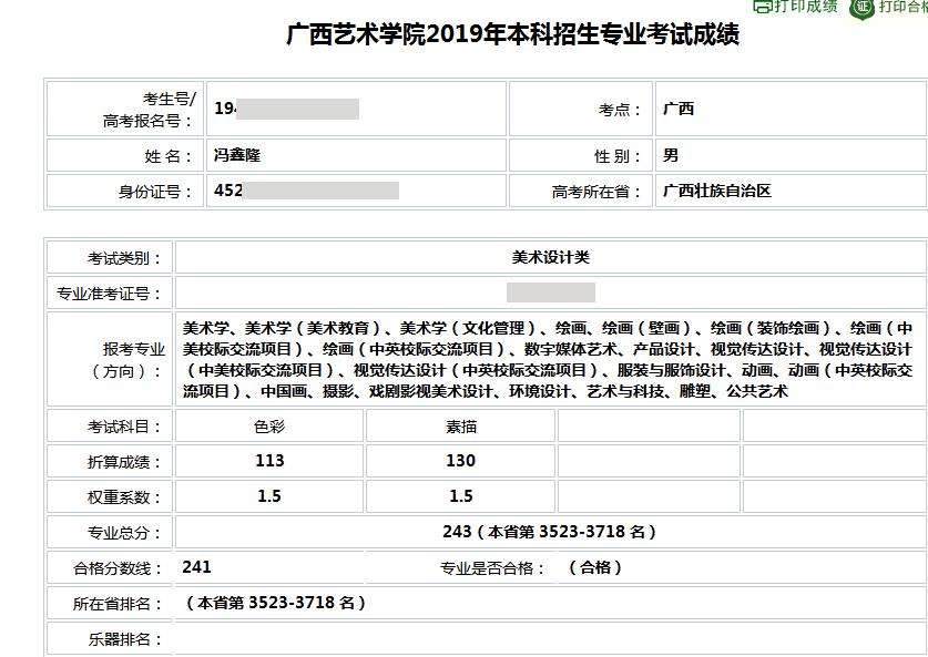 冯鑫隆    广西艺术学院  合格