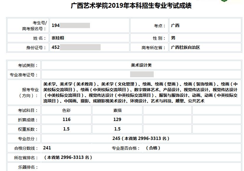 张桂相   广西艺术学院  合格