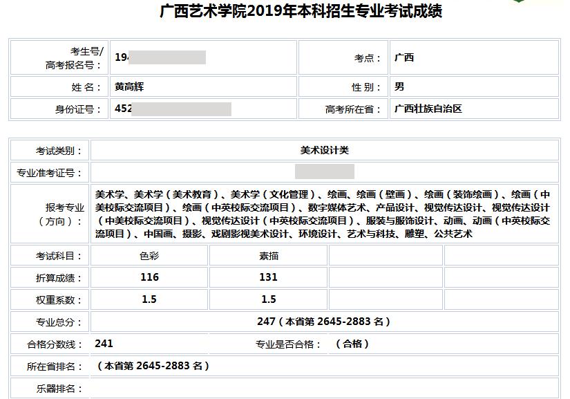 黄高辉   广西艺术学院   合格