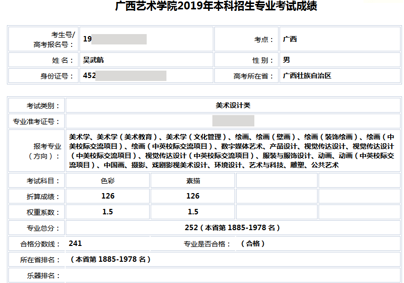 吴武航  广西艺术学院   合格