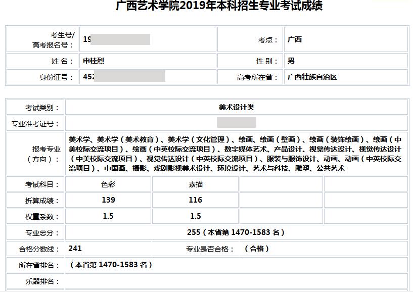 申桂烈    广西艺术学院   合格