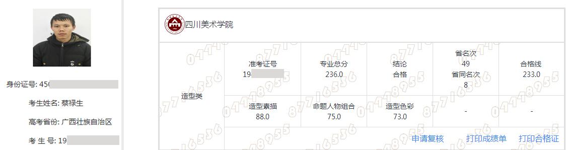 蔡禄生   四川美术学院    合格
