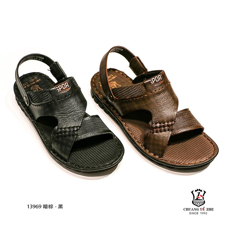 黑、棕色时尚休闲两用凉鞋
