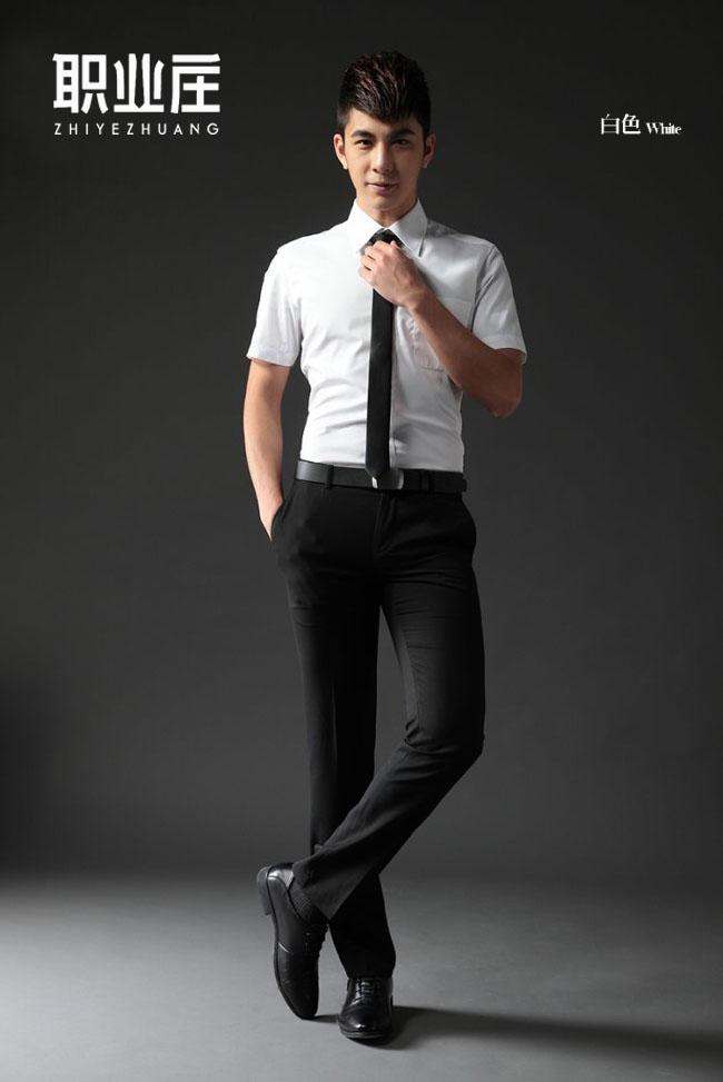 2019年新款男短袖春夏修身免烫白上班衬衣    男女同款牛津面料