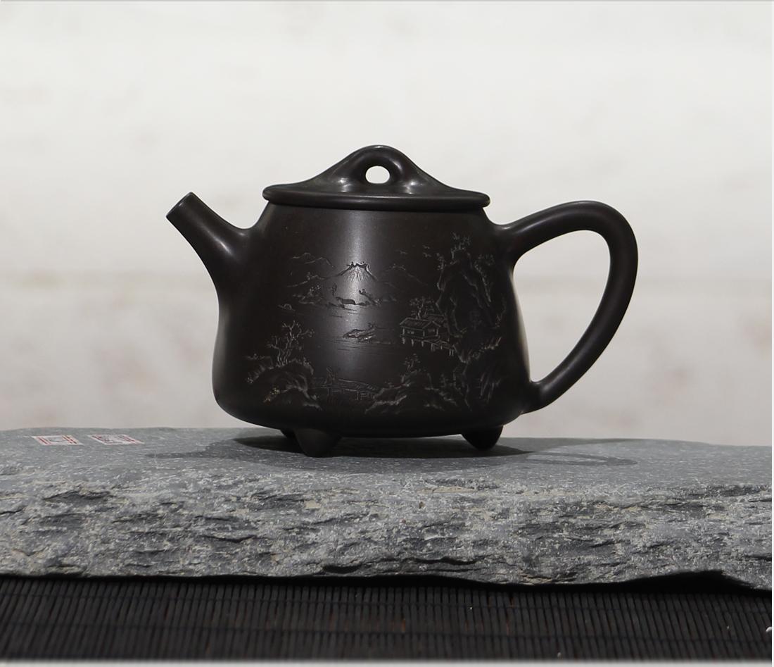 坭興陶拉坯大師袁輝文線雕山水高石瓢壺¥1280