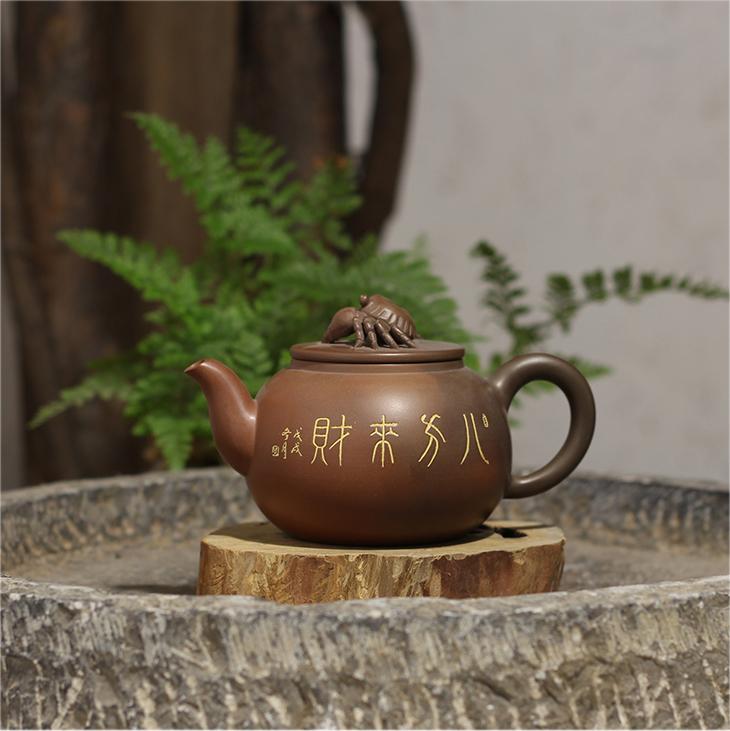 桂藝堂精品純手工坭興陶精品花壺八方來財壺¥1880