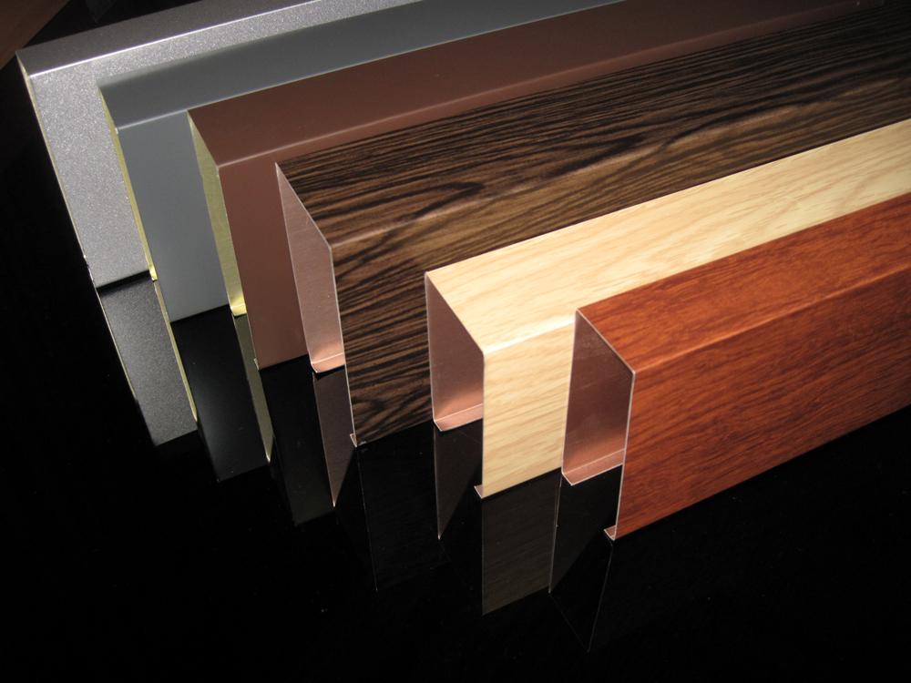 现货供应40*80覆膜木纹铝方通,棕色木纹铝方通