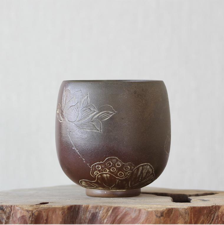 桂藝堂柴燒精品純手工坭興陶袁輝文制柴燒荷花杯¥580
