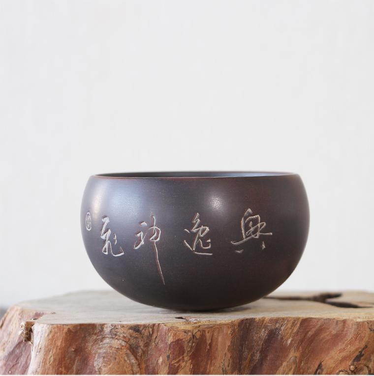 桂藝堂精品純手工坭興陶袁輝文制不倒翁刻字杯¥238