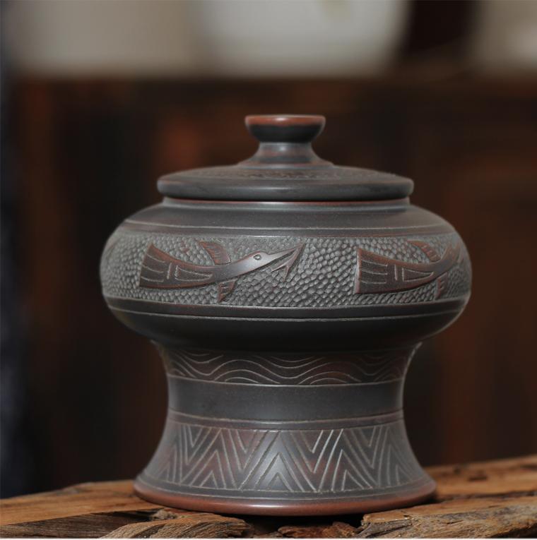 坭興陶銅鼓茶葉罐