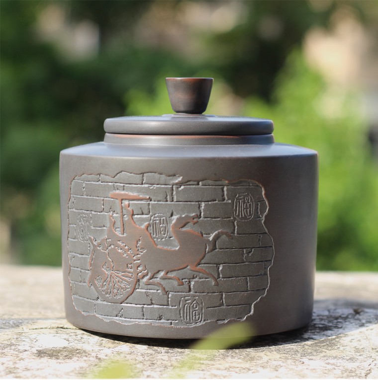 坭興陶馬車井欄茶葉罐