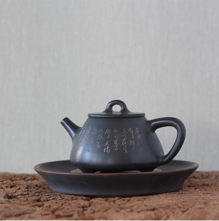 廣西桂藝堂精品純手工坭興陶子冶石瓢壺¥1080
