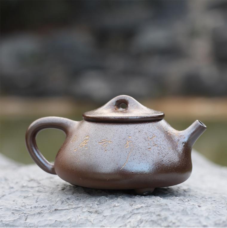 廣西桂藝堂精品純手工坭興陶精品柴燒景舟石壺¥1580